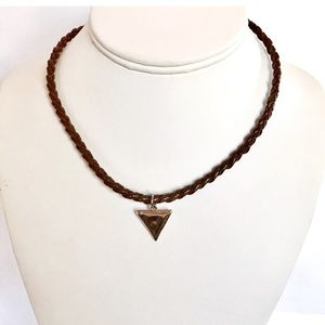 Jewelry - 3/$19 Brown Woven Cord Silver Triangle Necklace